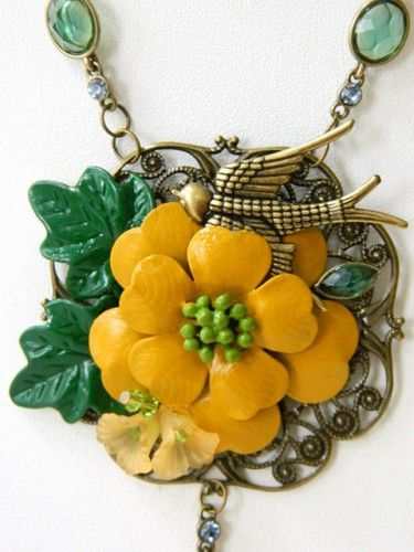 Recycled Jewelry Necklace in Yellow and Green