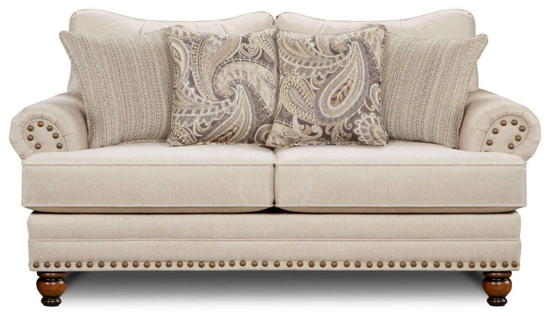 Fusion Furniture 2820 2821 Carys Doe Cary S Doe Traditional Loveseat With Nailhead Trim Great American Home Store Love Fusion Furniture Love Seat Furniture