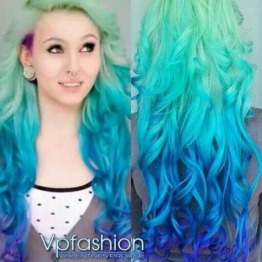 Light Blue Faded To Dark Blue Mermaid Hair Look With Images