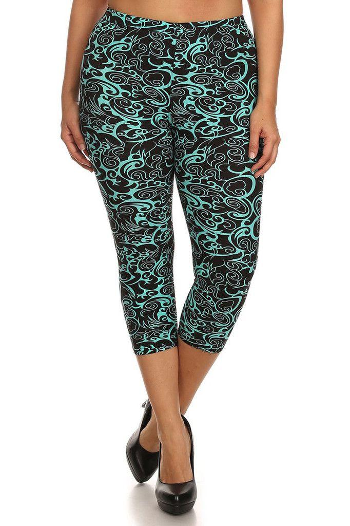 6ecaa60204b46 Teal Swirls Design Plus Size Capri Leggings