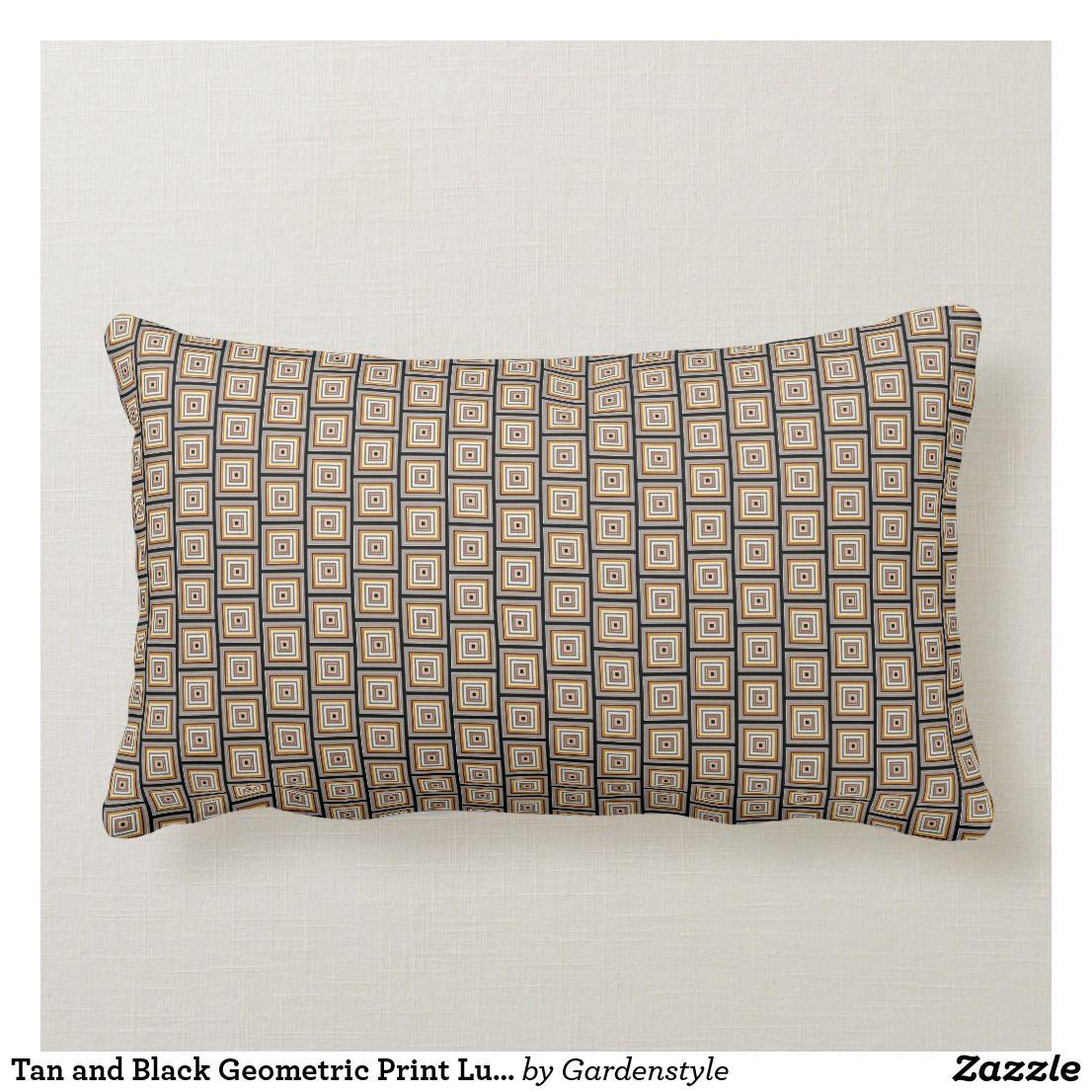 Tan and Black Geometric Print Lumbar Throw Pillow Zazzle