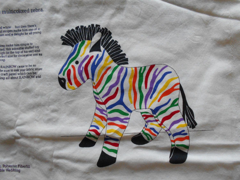 Rainbow The Multicolored Striped Zebra Stuffed Animal Fabric Panel