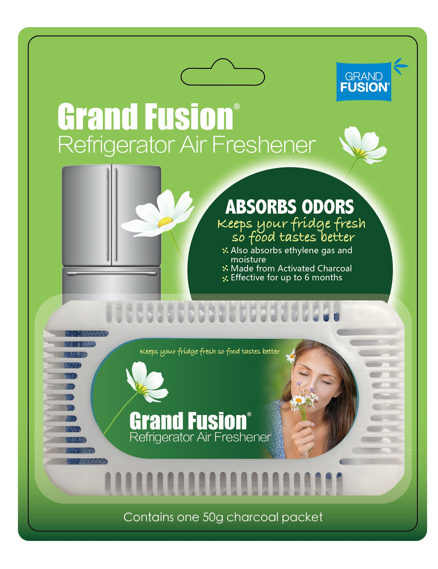 Refrigerator Air Freshener 3 Pack Set Activated Charcoal With