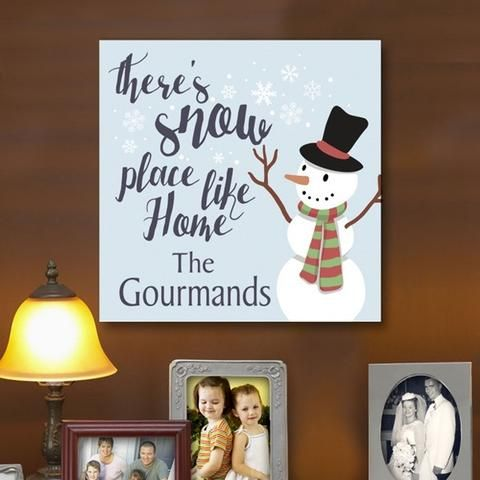 "Personalized ""There's Snowplace Like Home"" Print Wall Canvas"