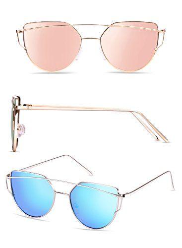 9b4050d6438 Elimoons Cat Eye Sunglasses 2 Pack Women Mirrored Lenses Metal Frame UV 400  Fashion Glasses