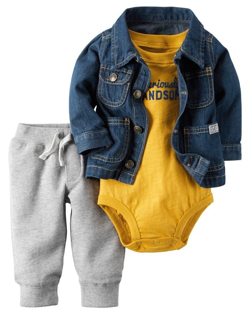 4fc5b3dbe Conjunto 3 pzas con Chamarrita de Mezclilla | ropa para niños | Ropa ...