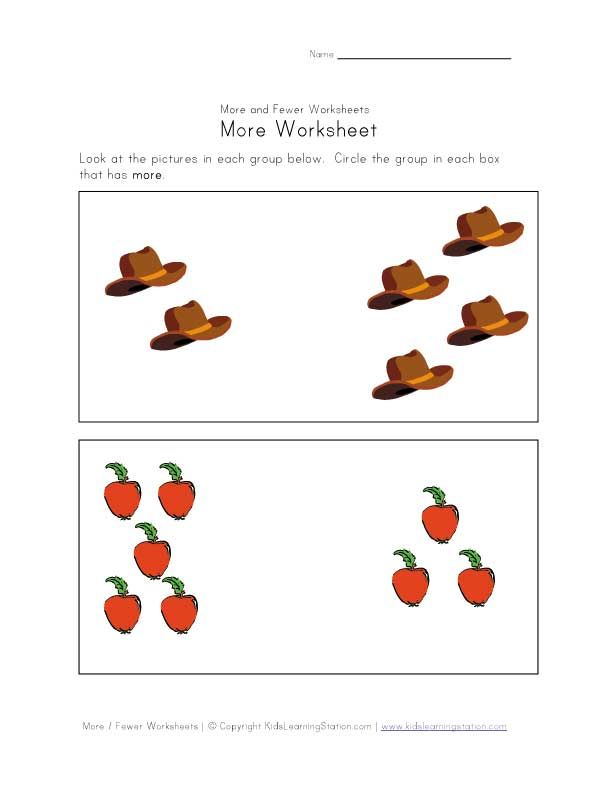 Comparison Worksheets Worksheets Kids Math Worksheets More And Less
