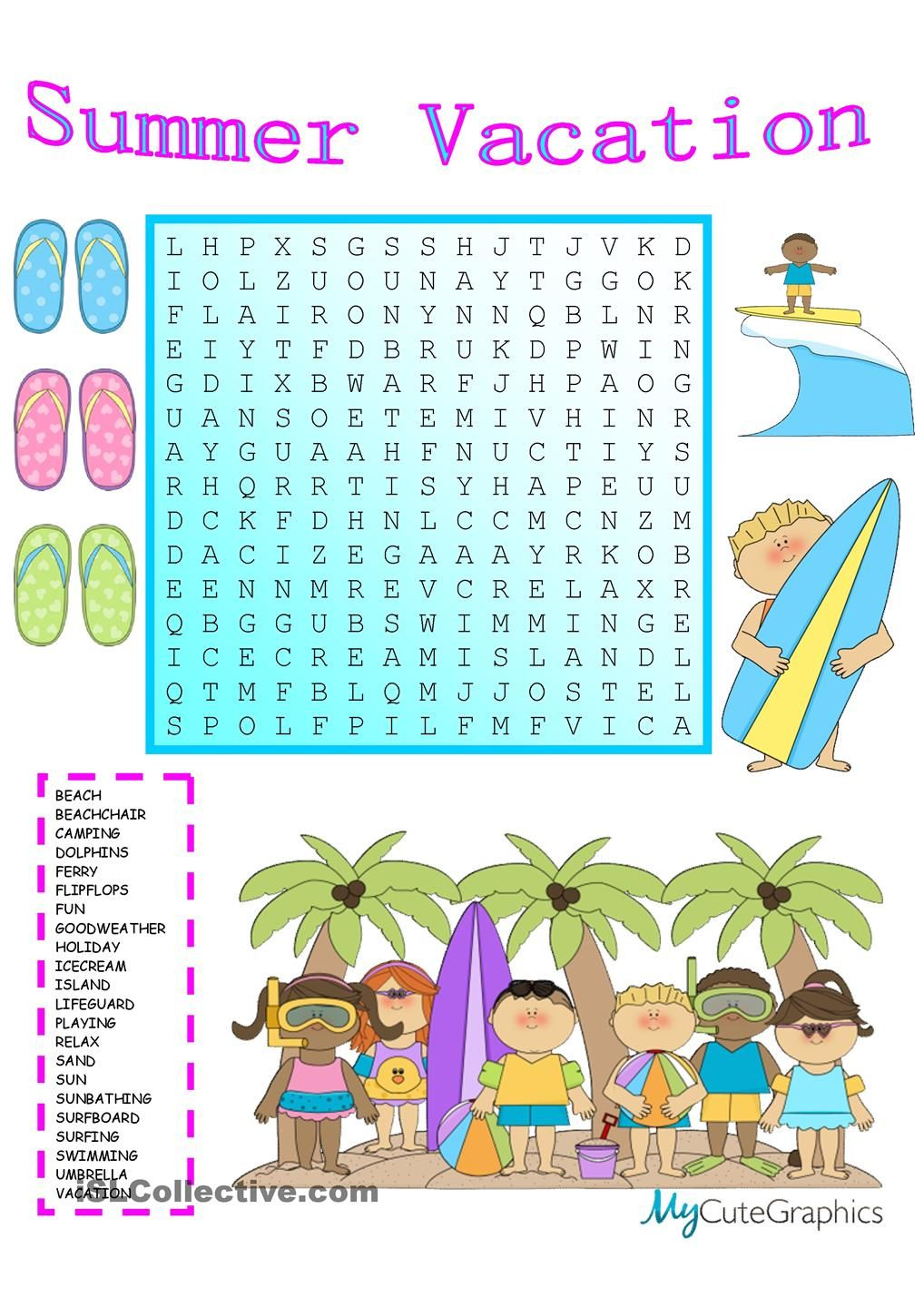 Summer Vacation Wordsearch … | English worksheets | Pinte…