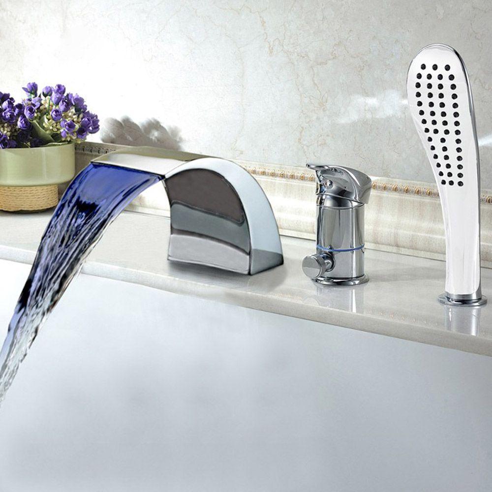 Modern Bathroom Faucet Spout Valve Hand Shower Set Bath Taps Roman
