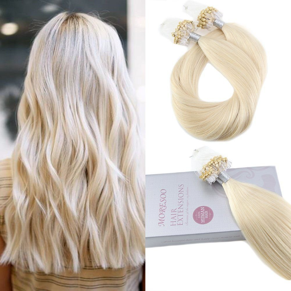 Moresoo 22 Inch Micro Beads Tipped Human Hair Extensions Platinum