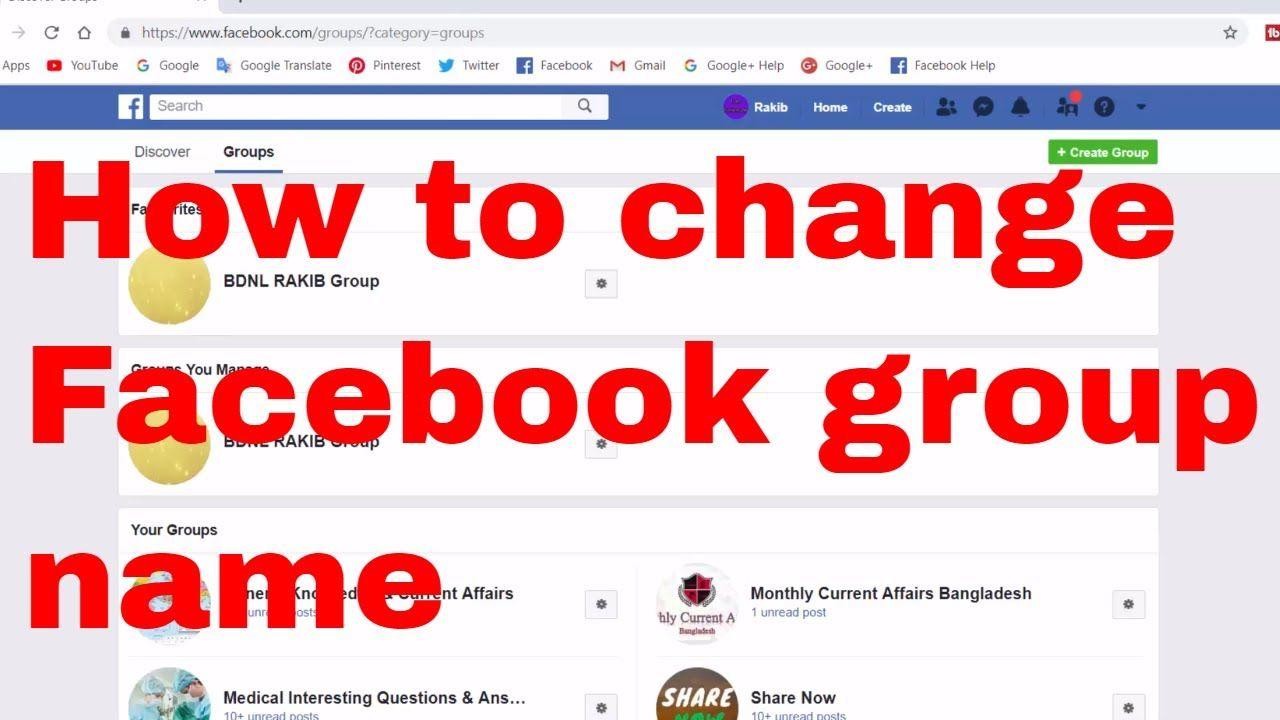 How To Change Facebook Group Name Bdnl Rakib Facebook Training