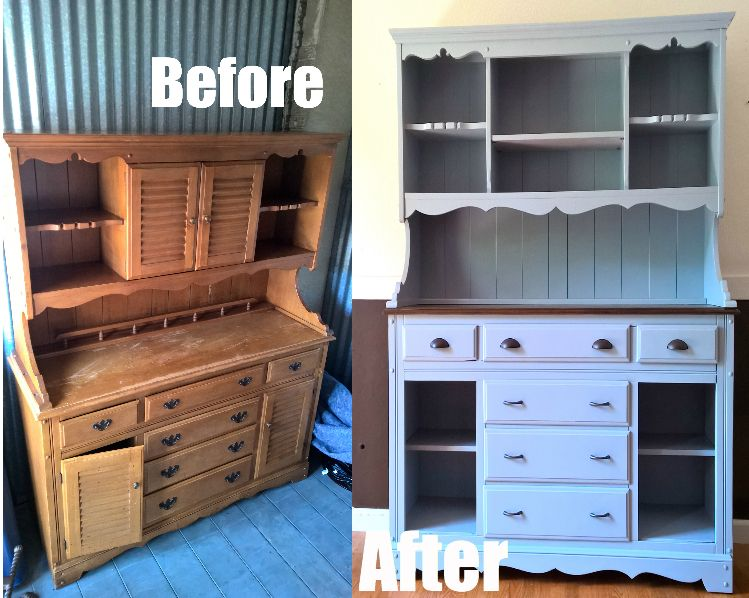 Refurbished Hutch/Bar for sale! #paintedfurniture #upcycle ...