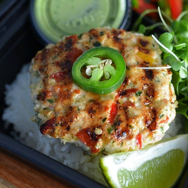 Here's my Chicken Breast (meal prep)  CHICKEN FAJITA PATTY over White Rice with an Avocado Aioli and flash seared broccoli.  Garnished with micro greens,red bell pepper and jalapeño.  Tired of boring dried chicken breast?  Cooking that chicken breast this way allows a ton of flavor into the patty along with moisture for a juicy bite, perfect for any meal prep. Adding veggies to the patty also adds moisture and nutrients.  You can use any flavor of #flavorgod seasoning from the combo pack!