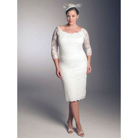 3/4 length Sleeves Lace Plus Size Wedding Dress/ Elegant Short Reception Bridal Dress