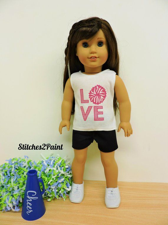 LOVE Cheer Doll Shirt fits American Girl Dolls,  Doll Clothes, 18 inch Dolls, Doll Cheer, Tank Top, Cheerleader, Pom Poms #18inchcheerleaderclothes