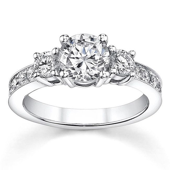 Round 3000 8000 Three Stone Diamond Engagement Rings Free Shipping On Orders Over 45 Choose From A Wide Selection Of
