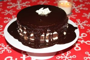 Fudge Torte with White Chocolate Mousse