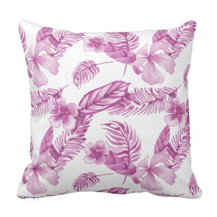 Tropical Watercolor Floral White Deep Pink Throw Pillow