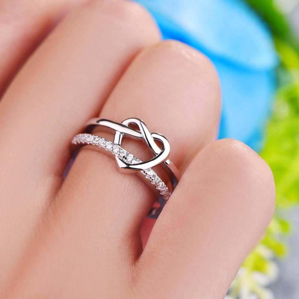 YL Heart Ring 925 Sterling Silver Women Wedding Natural Stone ...