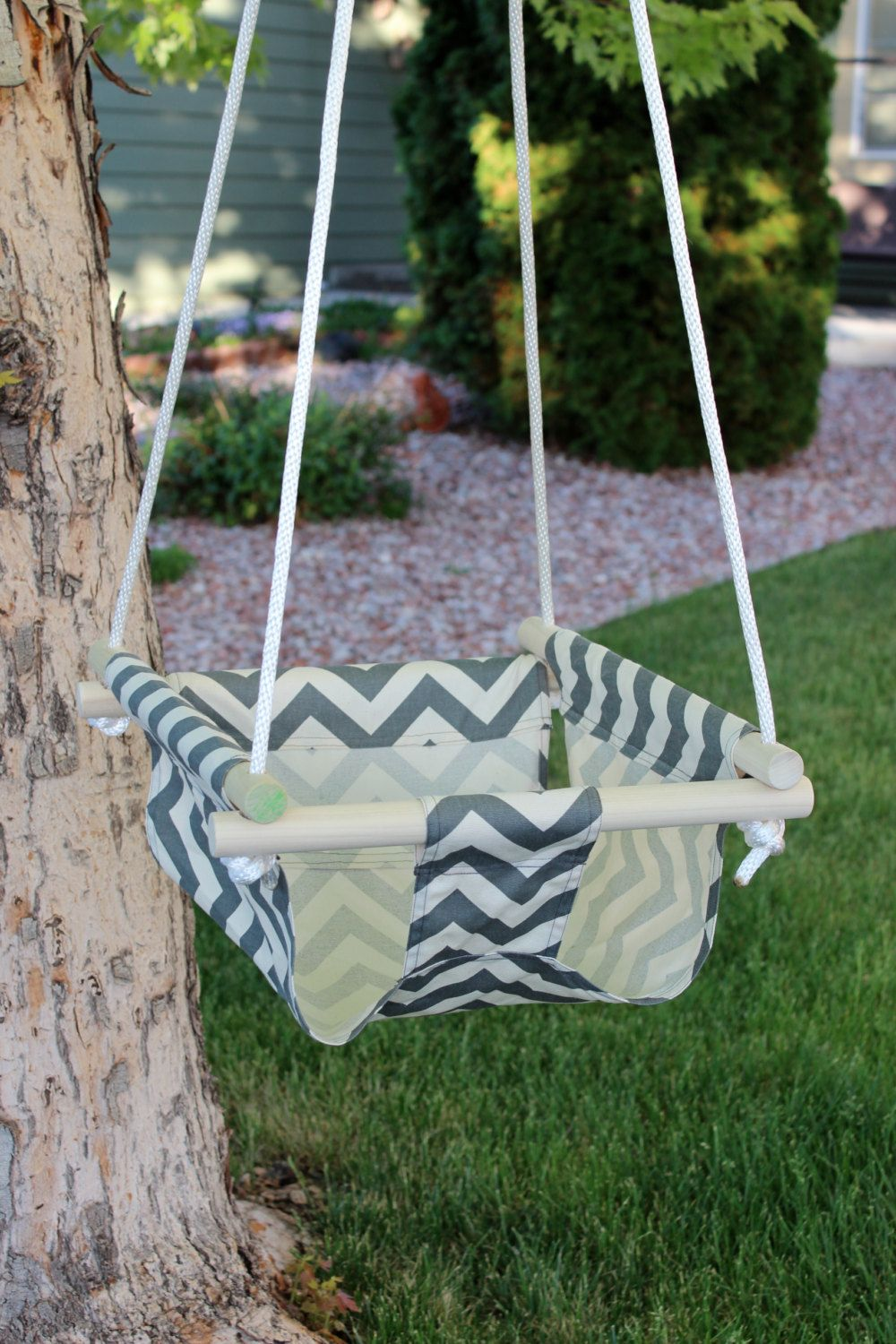 Indoor or outdoor canvas swing for infant to by melntriboutique