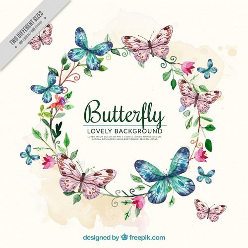 Watercolor Background With Floral Wreath And Butterflies 23 2147605702 Butterfly Watercolor Watercolor Background Watercolor Flowers