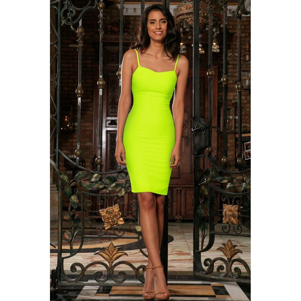 Neon yellow lime green stretchy summer trendy bodycon mini dress