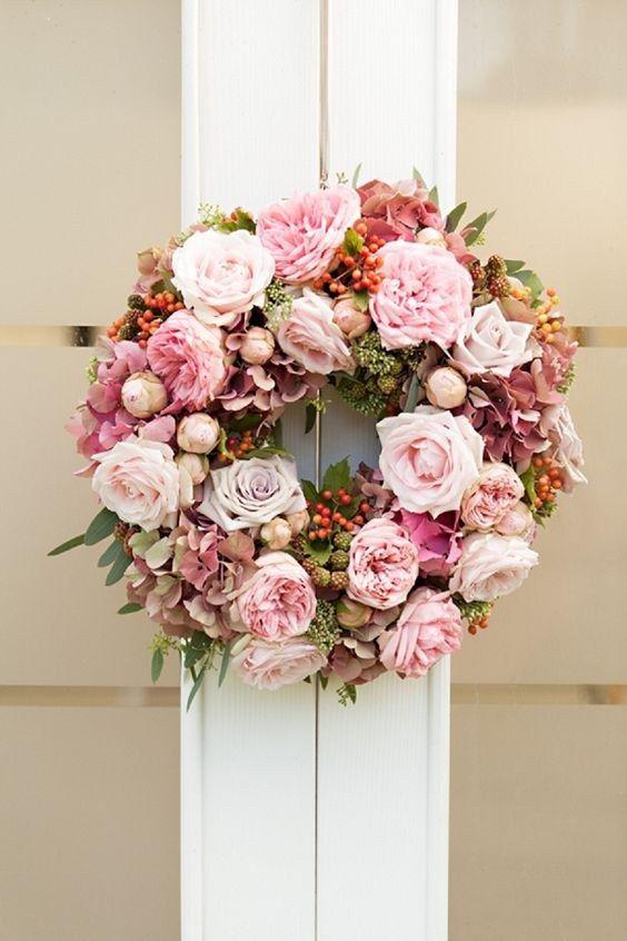 pink flower wedding wreath  / http://www.himisspuff.com/wedding-wreaths-ideas/7/