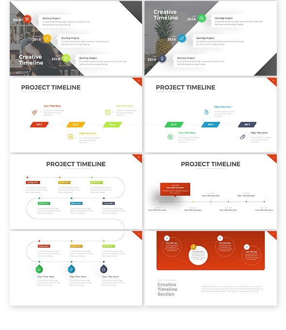 Project Timeline PowerPoint Template By RRgraph