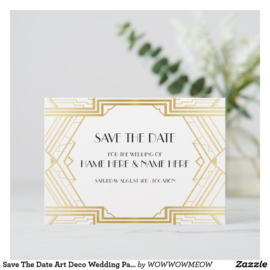 save the date art deco wedding party gold invites in 2018 wedding