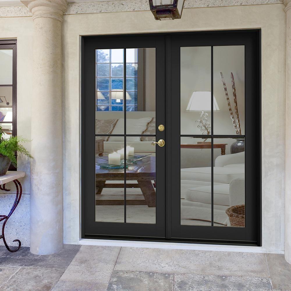 Jeld Wen 72 In X 80 In W 2500 Bronze Clad Wood Left Hand 4 Lite French Patio Door W White Paint Interior Thdjw221900345 French Doors Patio French Doors Exterior French Doors