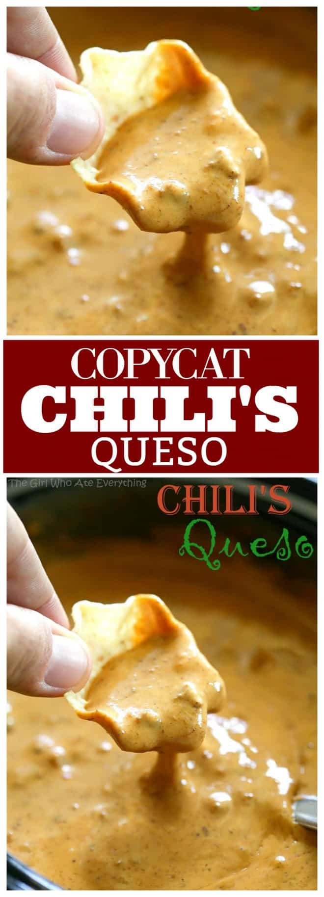This is a copycat version of Chili's Queso Dip which is one of my family's favorites. Throw this Chili's Queso Dip together in the slow cooker or heat on the stove, either way it's a quick crowd pleasing appetizer. #chilis #queso #dip #appetizer #recipe #copycat