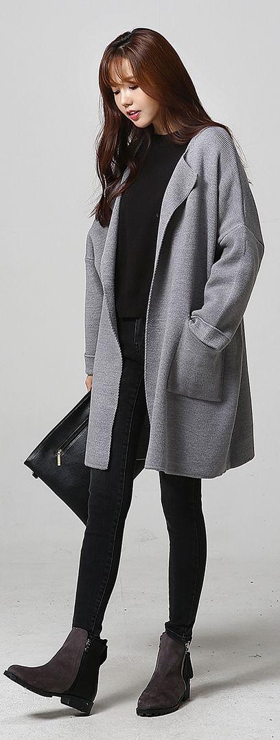 korean fashion long grey jacket black minimalist. Black Bedroom Furniture Sets. Home Design Ideas