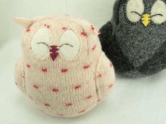 SALE Owl Ornament Felted Wool Eco Friendly Home by ForMyDarling