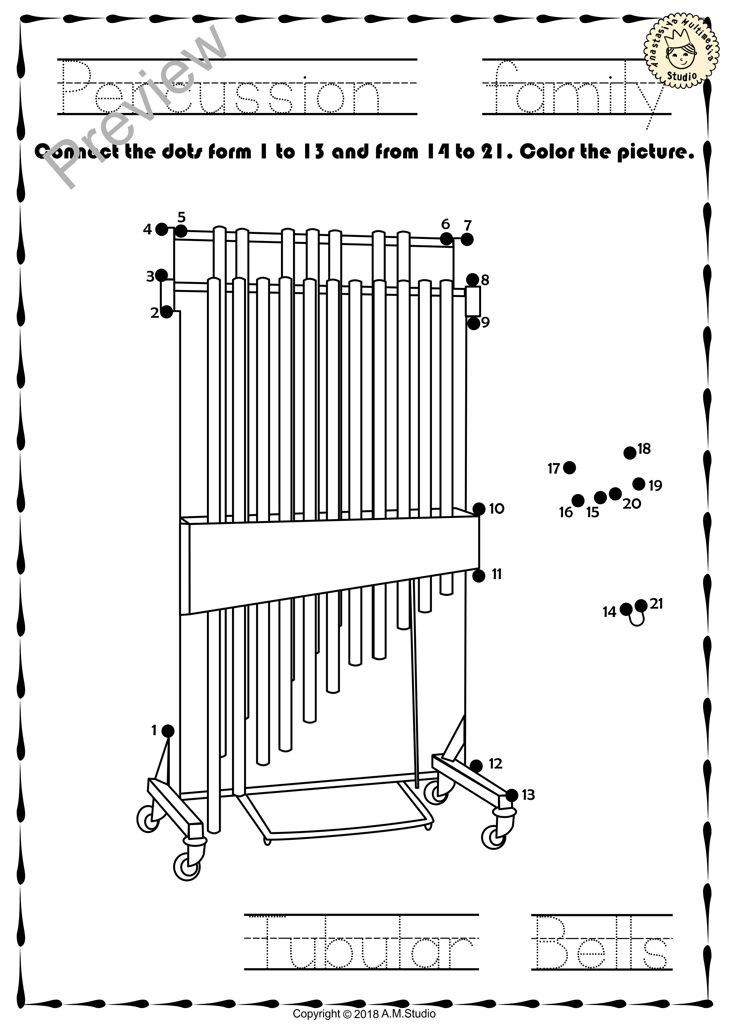 Percussion Instruments Dot To Dot Worksheets Con Imagenes