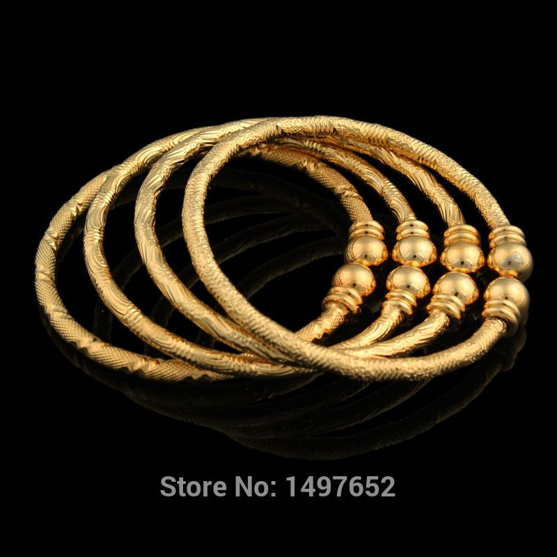 Luxury Dubai Gold Baby Bangle Jewelry For Boys S18k Plated Ethiopian Kids Bangles Bracelet