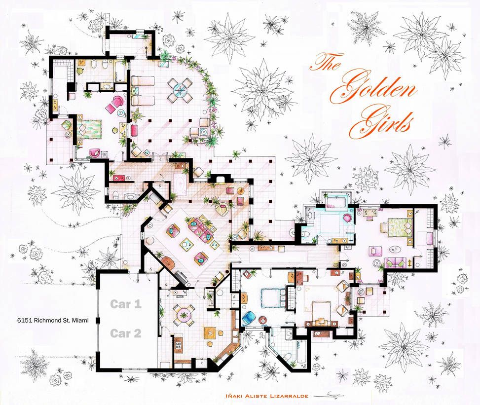 The Golden Girls House Floorplan V 2 By Nikneuk On Deviantart Golden Girls House Golden Girls Floor Plan Drawing
