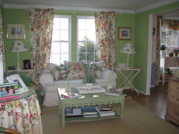 romantic cottage magazine cottage style living room white furniture against fresh green walls - Cottage Style Living Room Pinterest