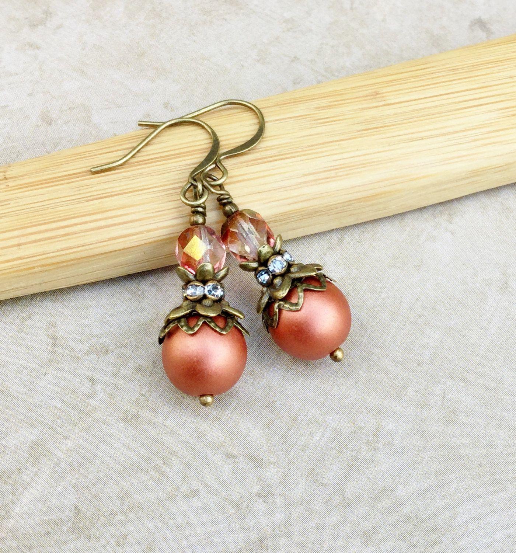 Pink Earrings, Bronze Earrings, Victorian Earrings, Czech Glass ...