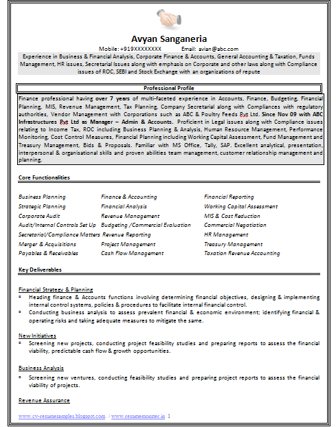 Example Of Resume Page 1 Fund Management Resume Tips Budget Planning