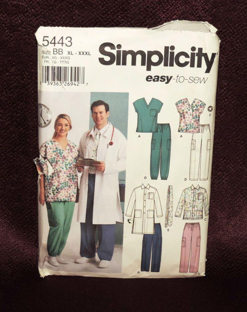 6e1d6ea80b3 Simplicity Patter #5443 Men Women Scrub Top Pants Jacket Tie size XL XXL  XXXL #Simplicity