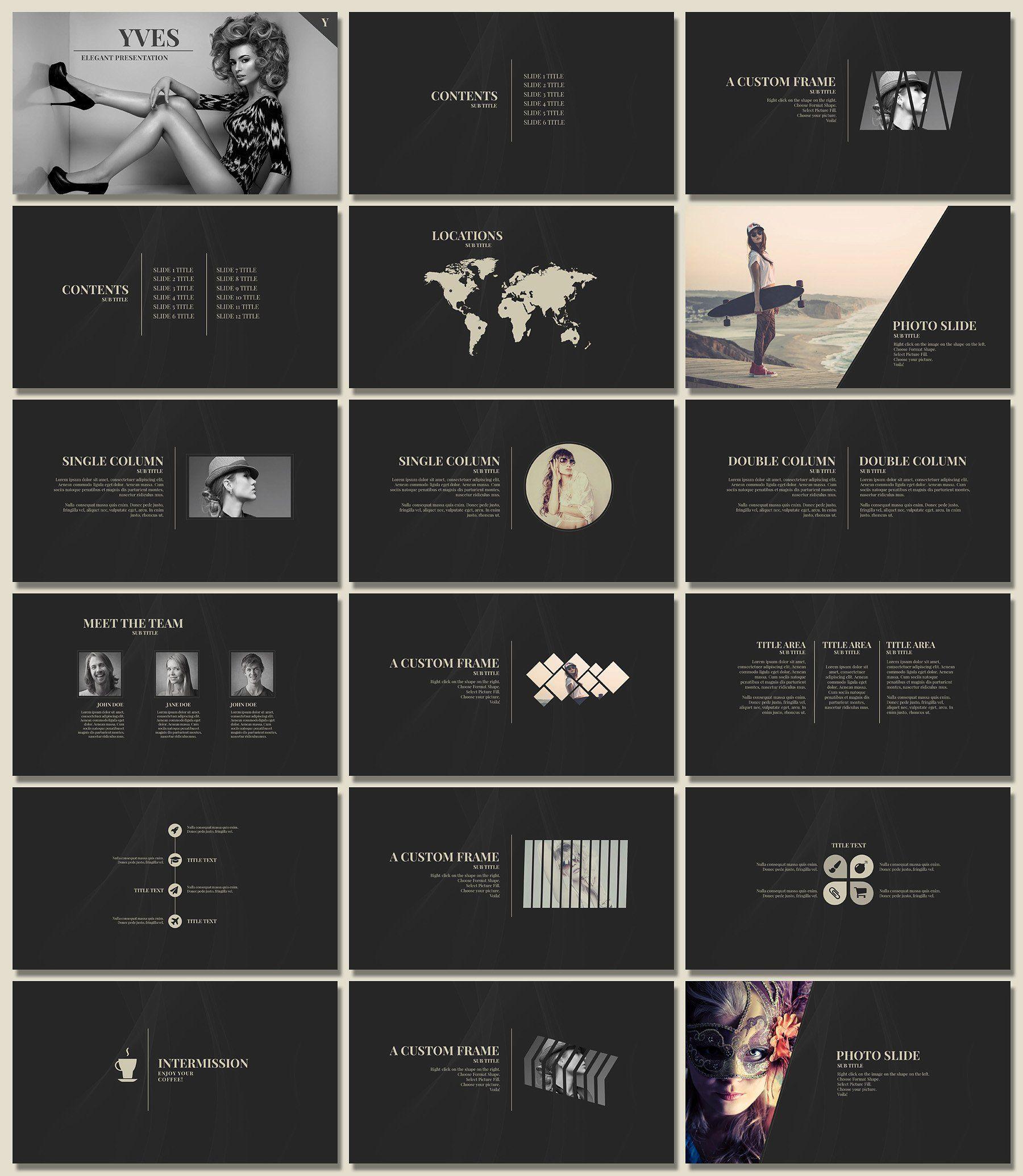 Yves  Elegant Presentation  Presentation Design Ppt Template