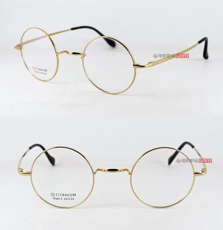 dadeb16a6c Pure Titanium Vintage Round 44mm Eyeglass Frame Spectacles Glasses Rx able