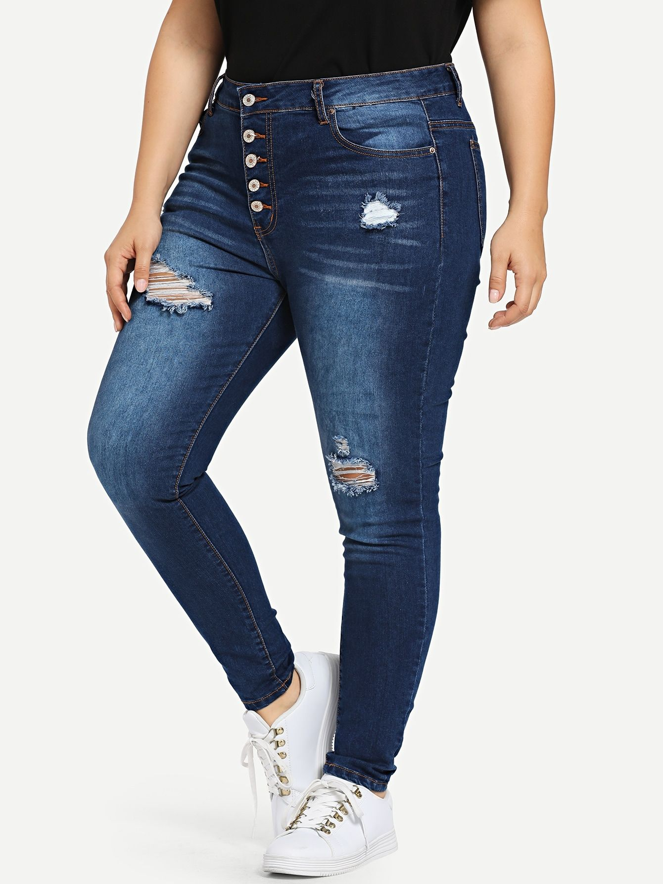 Ad Plus Bleach Wash Ripped Buttoned Jeans Tags Casual Blue Plain Long Skinny Button Pocket Ripped Zipp Tamano Extra Skinny Pantalones Vaqueros Rotos
