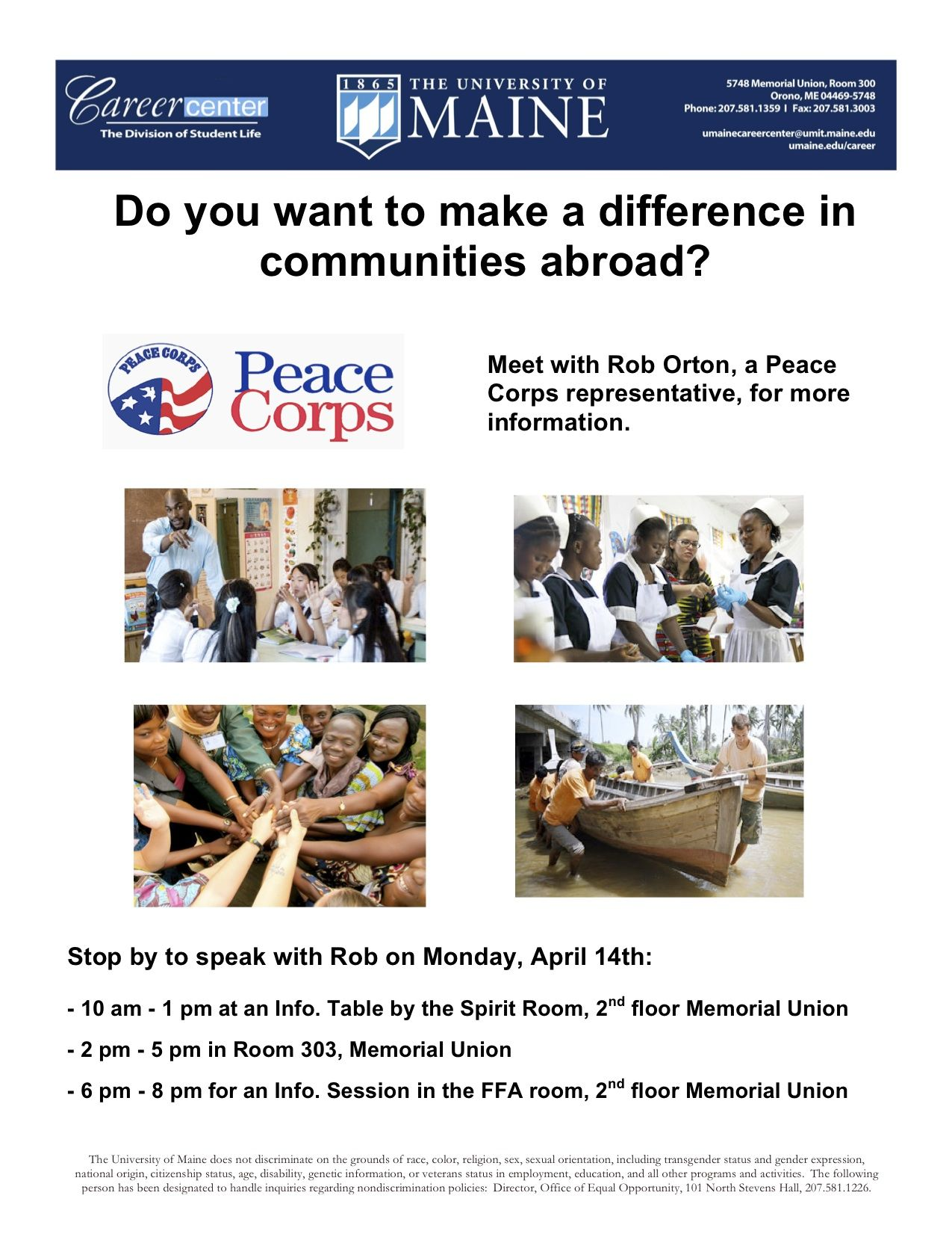 Peace corps on campus april 14th info sessions tabling