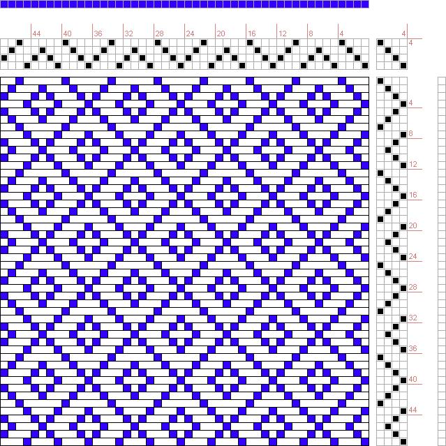 draft image: Figure 646, A Handbook of Weaves by G. H. Oelsner, 4S, 4T