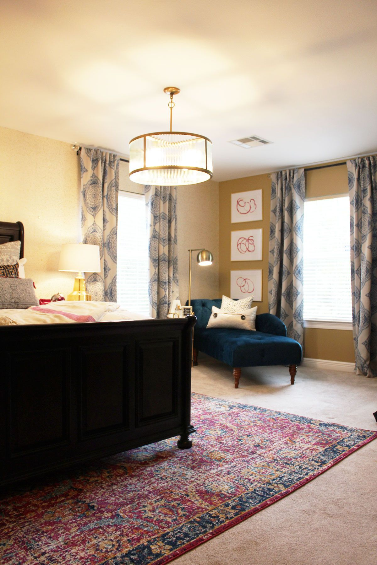 Pink and Blue Transitional Bedroom Reveal Before & After