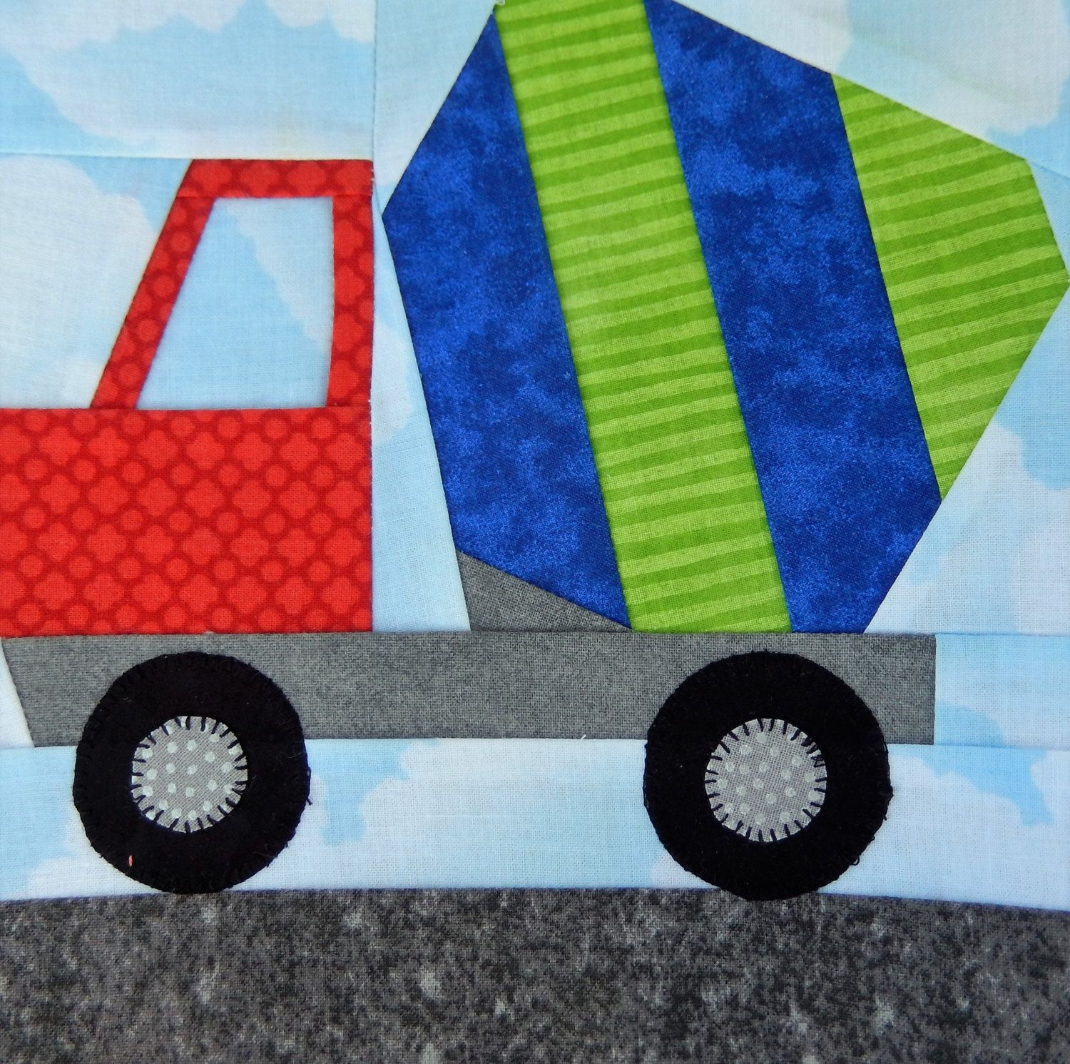 Cement truck paper pieced PDF pattern; cement mixer paper pieced PDF pattern; foundation pieced truck; Ms P Designs USA by MsPDesignsUSA on Etsy
