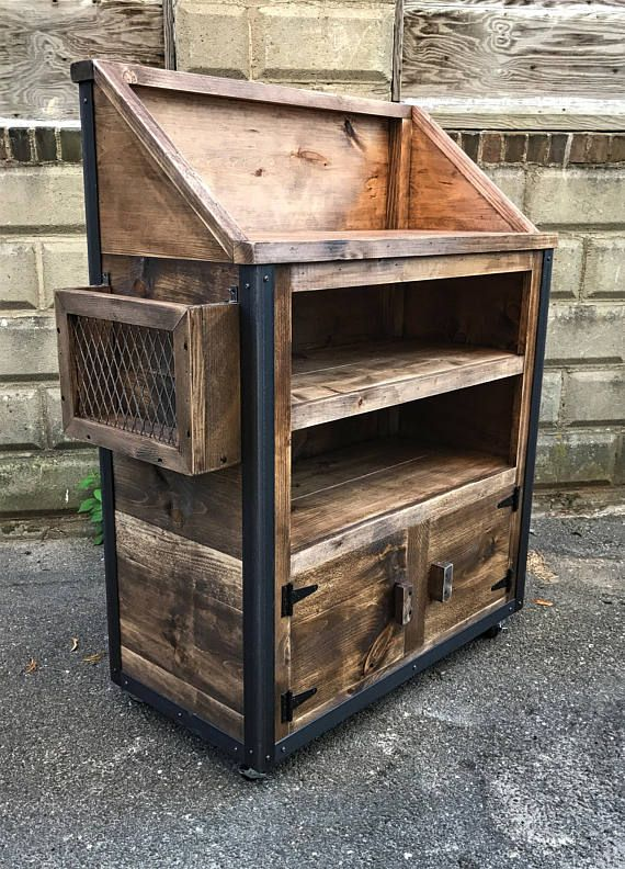 Rustic Industrial Reclaimed Wood Hostess Host Stand ...