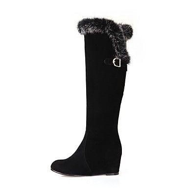 zapatos de las mujeres del dedo del pie cuña talón rodilla flocado ronda botas altas con cremallera – EUR € 34.38