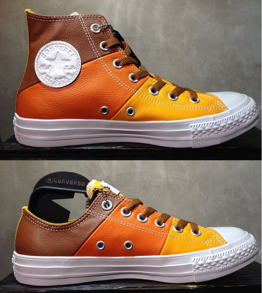 069c9c3e8811 CONVERSE CHUCK TAYLOR ALL STAR TRI-PANEL BROWN ORANGE YELLOW LEATHER MEN  SHOES  Converse  AthleticSneakers